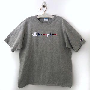 Champion Men's Logo Shirt 2XL Grey Short Sleeve